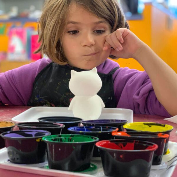 Little Girl Pondering a what color to paint a blank project